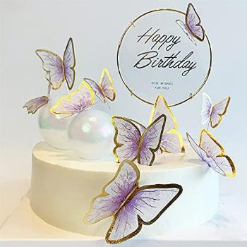 11-Pieces Purple Gold Butterfly Cake Toppers Happy Birthday