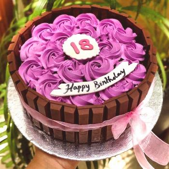 18th birthday cake for celebration 18th birthday cake decorated with purple cream in rose flower sh