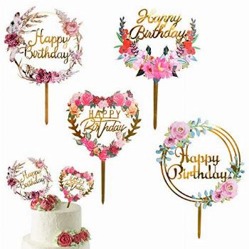 ANYI16 4 Pack Happy Birthday Cake Topper Acrylic Ins Cupcake