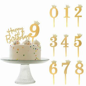 ANYI16 Acrylic Numbers 0-9 Crown Cake Topper and Gold