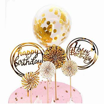 DeMissir Happy Birthday Cake Toppers, A Series of Golden