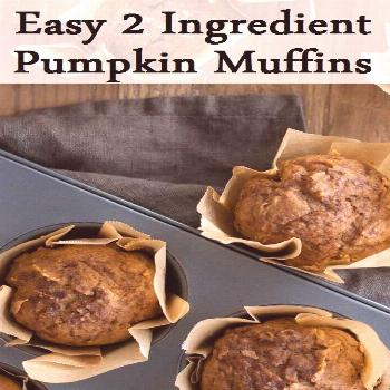 Easy 2 Ingredient Pumpkin Muffins I LOVE the rustic look of these liners and will be doing this in