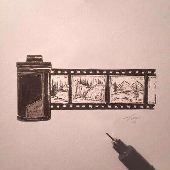 Film scroll illustration with some small landscapes.