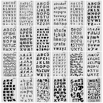 Finyosee 24 Pack Letter and Number Stencils Alphabet Stencil