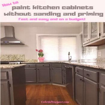 How to paint kitchen cabinets without sanding and priming fast and easy. It cost...#cabinets