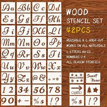 Letter Stencils for Painting on Wood,5x8 inch Alphabet