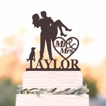 wedding cake topper personalized, bride and groom cake topper with dog