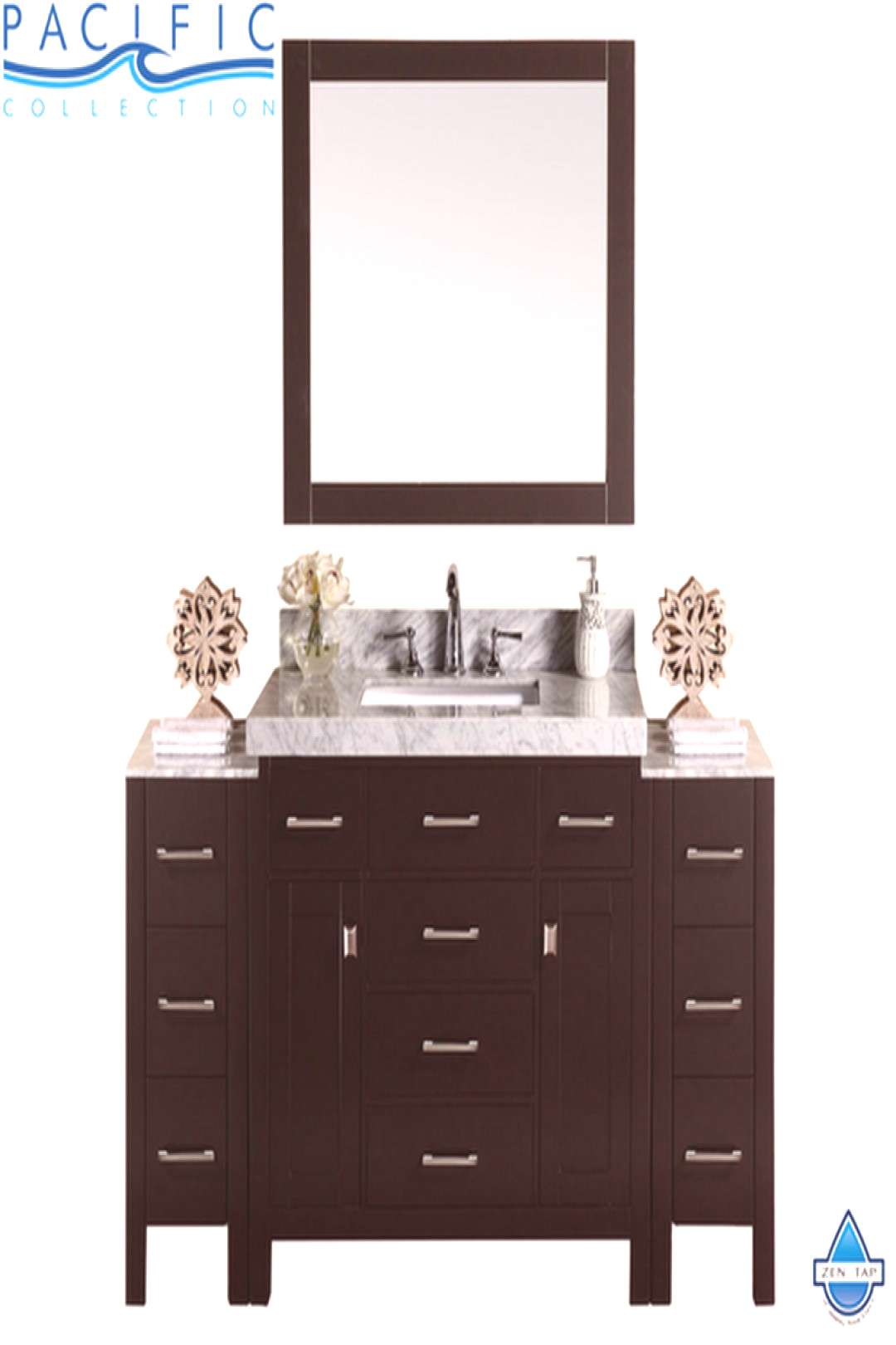 64quot Malibu Single Modern Bathroom Vanity with 2 Side Cabinets, White Marble Top ... 64quot Malibu Sing