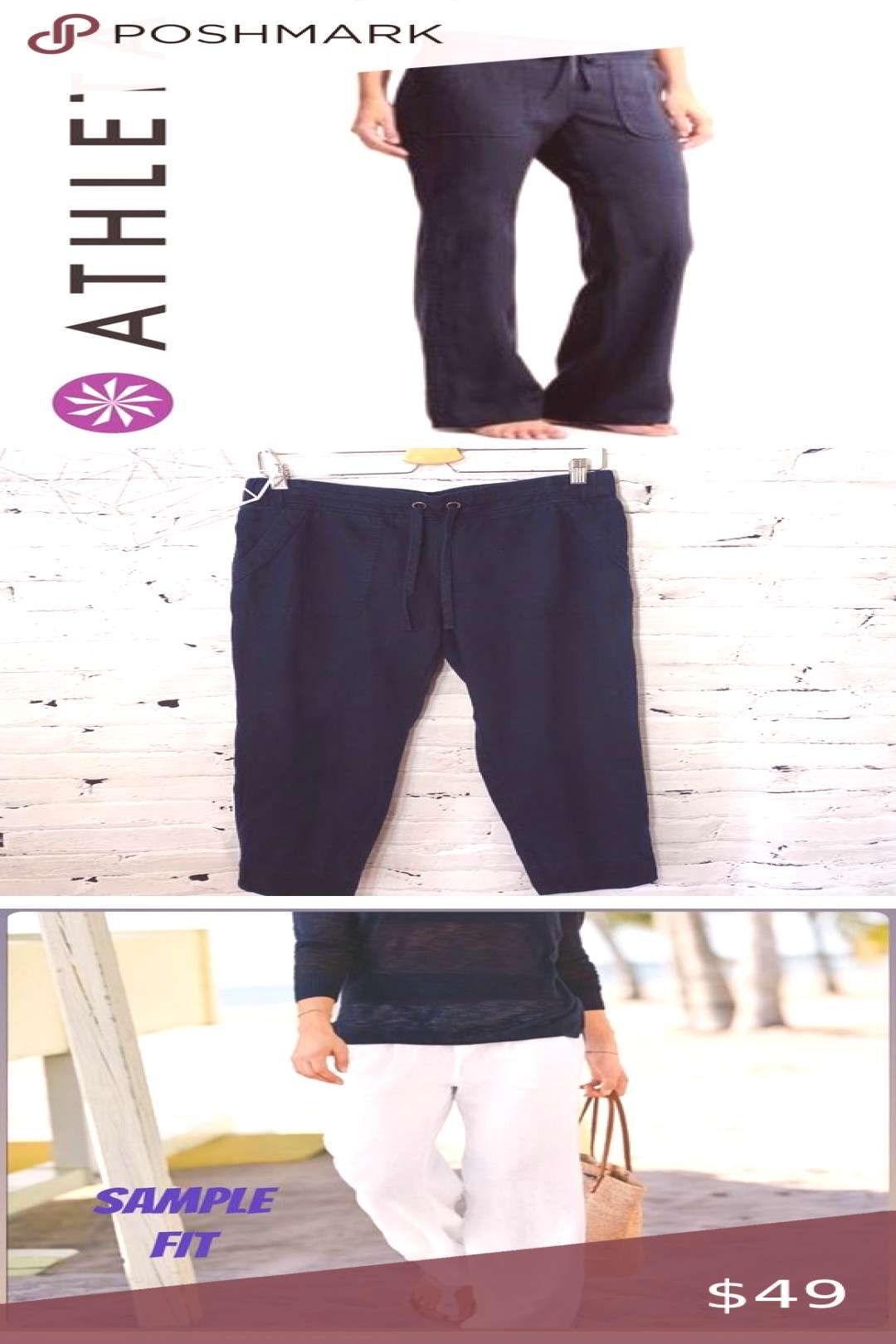 Athleta 100% Linen bali Wide leg Cabo Pants NWTO Like new excellent condition si...#athleta