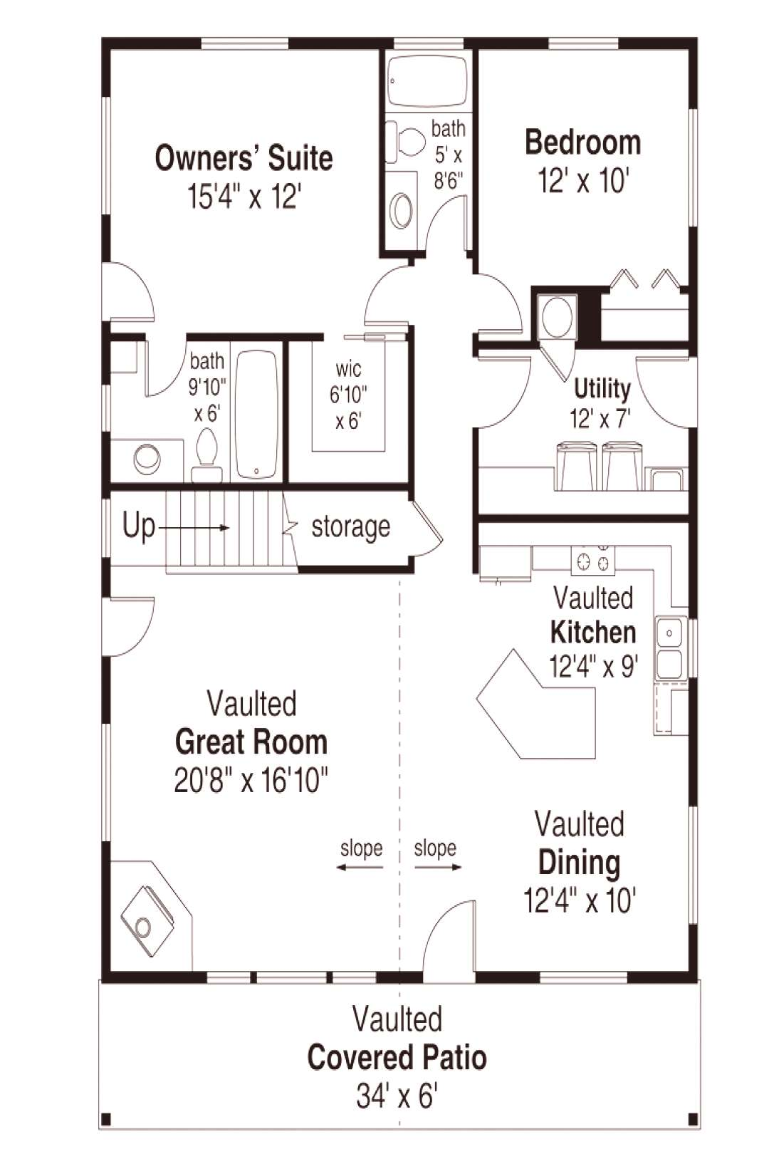 Cabin , Contemporary House Plan 41302 with 2 Beds, 2 Baths Level One