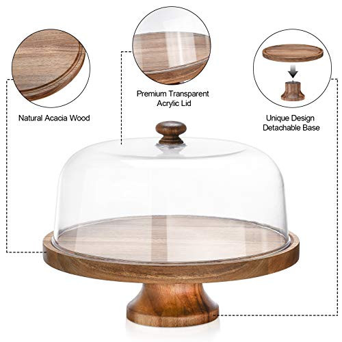 Cake Stand with Dome,11.8quot Round Acacia Wood Cake Plates