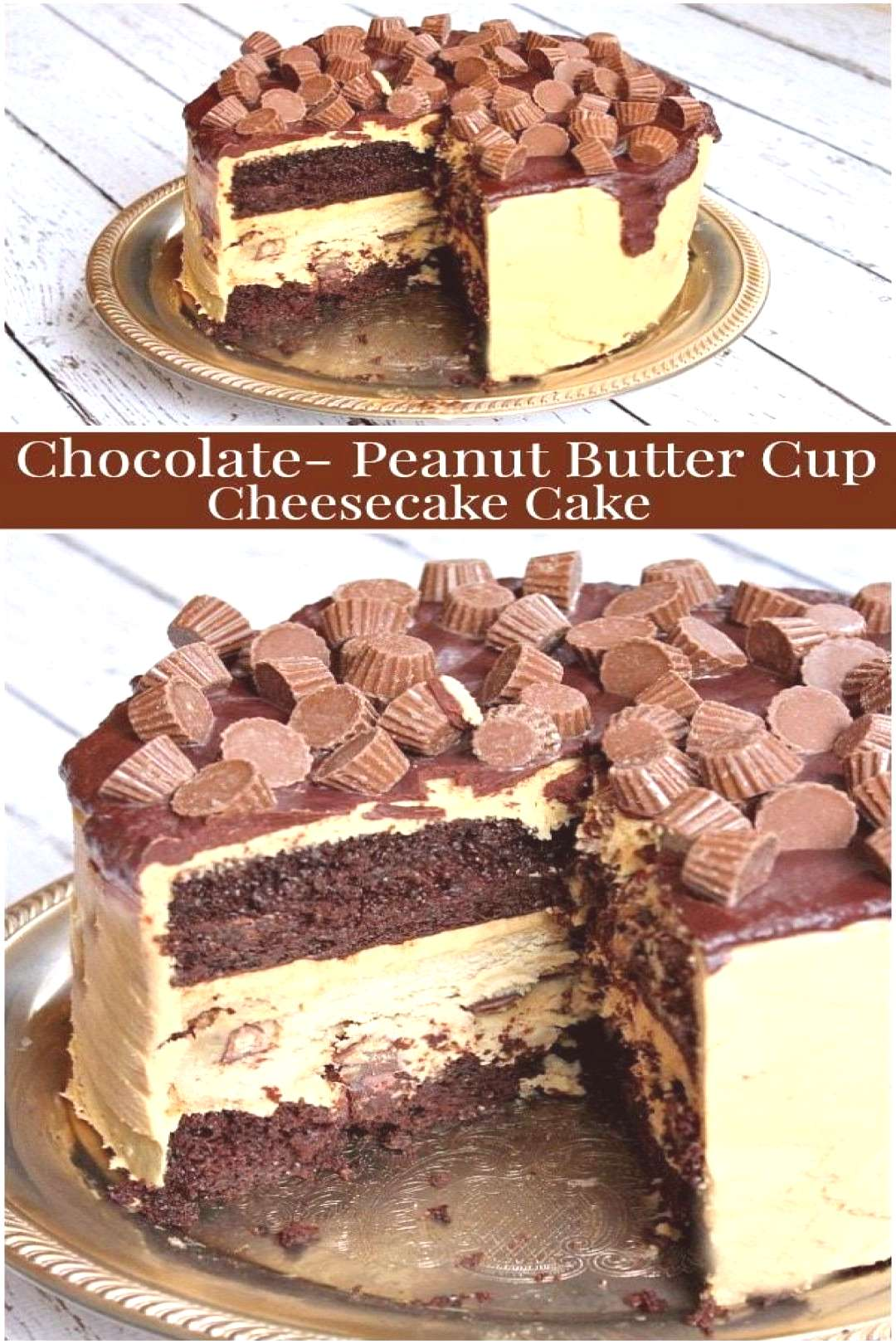 Chocolate Peanut Butter Cup Cheesecake Cake recipe from