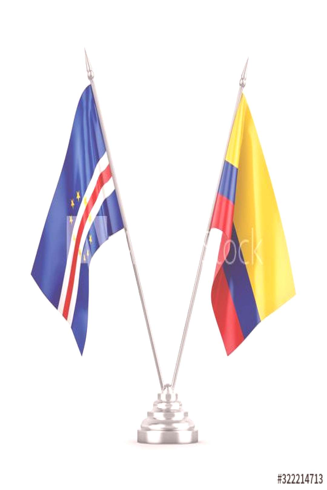 Colombia and Cape Cabo Verde table flags isolated on white 3D rendering ,