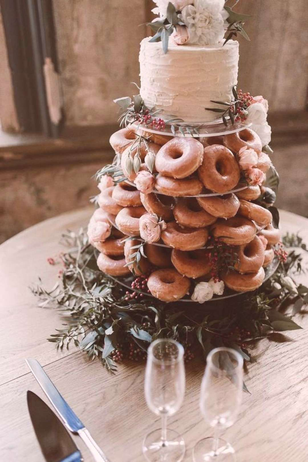 donut wedding cakes, greenery and floral toppers , rustic weddings, country wedd... -