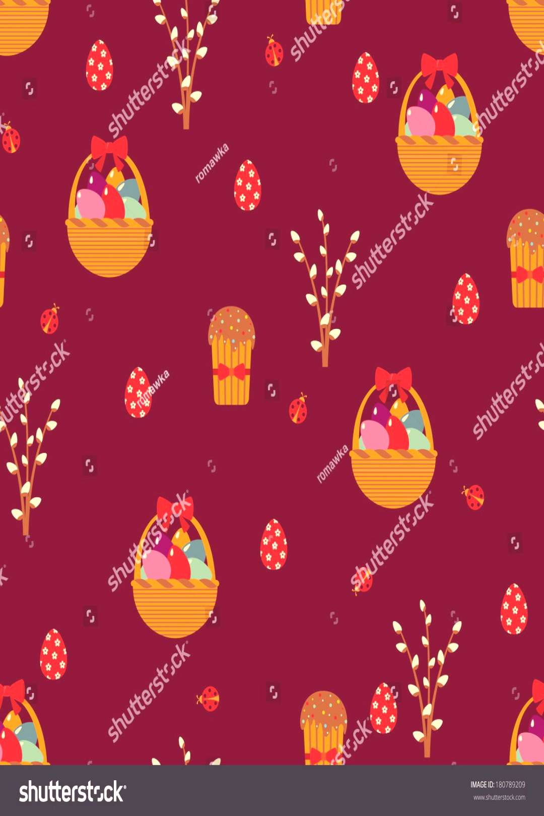 Easter seamless pattern with eggs and cakes. ,