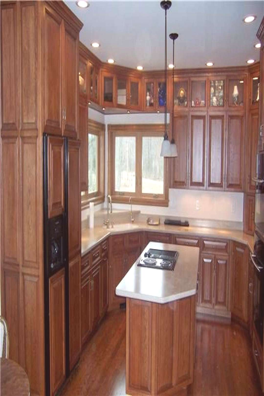 Hickory cabinets - Raised panel miter corner doors, drawer fronts, and side pane...#cabinets