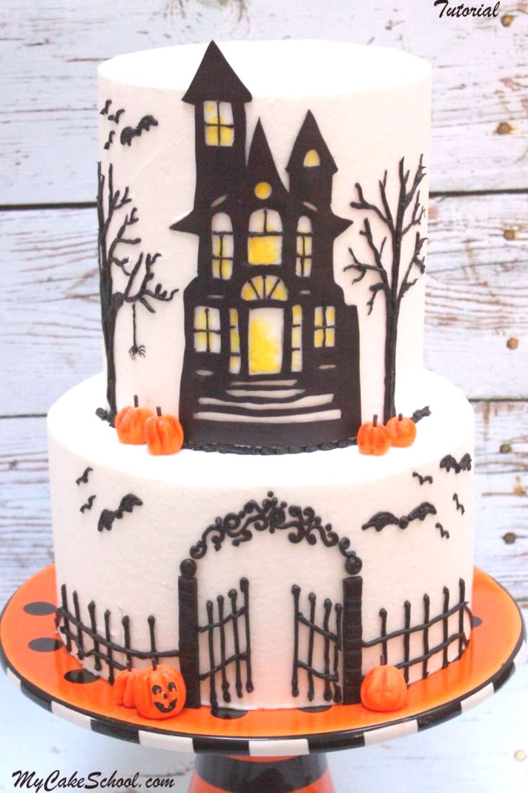 In this cake decorating video tutorial from , learn to create a festive Haunted House Halloween cak