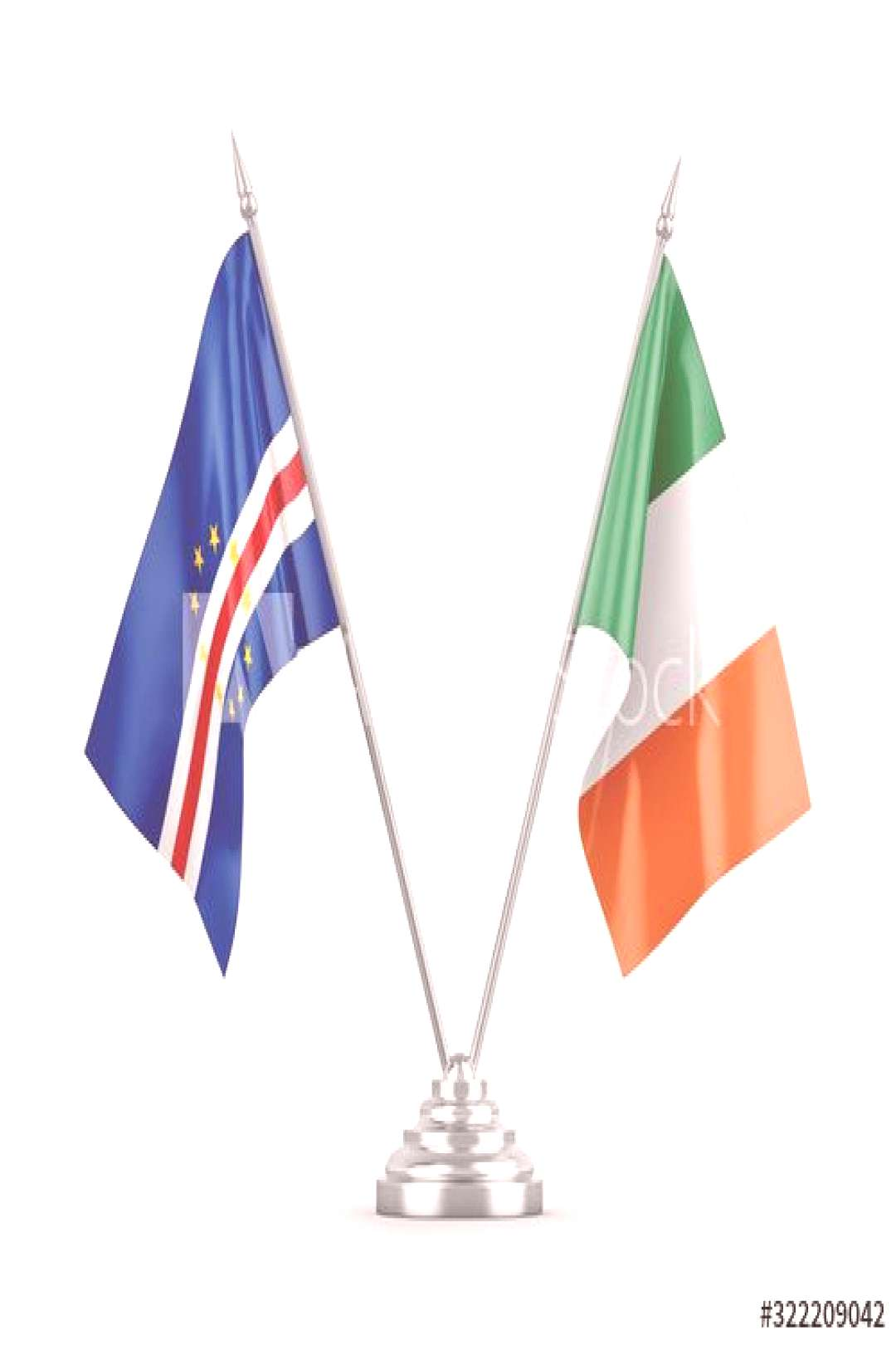 Ireland and Cape Cabo Verde table flags isolated on white 3D rendering ,
