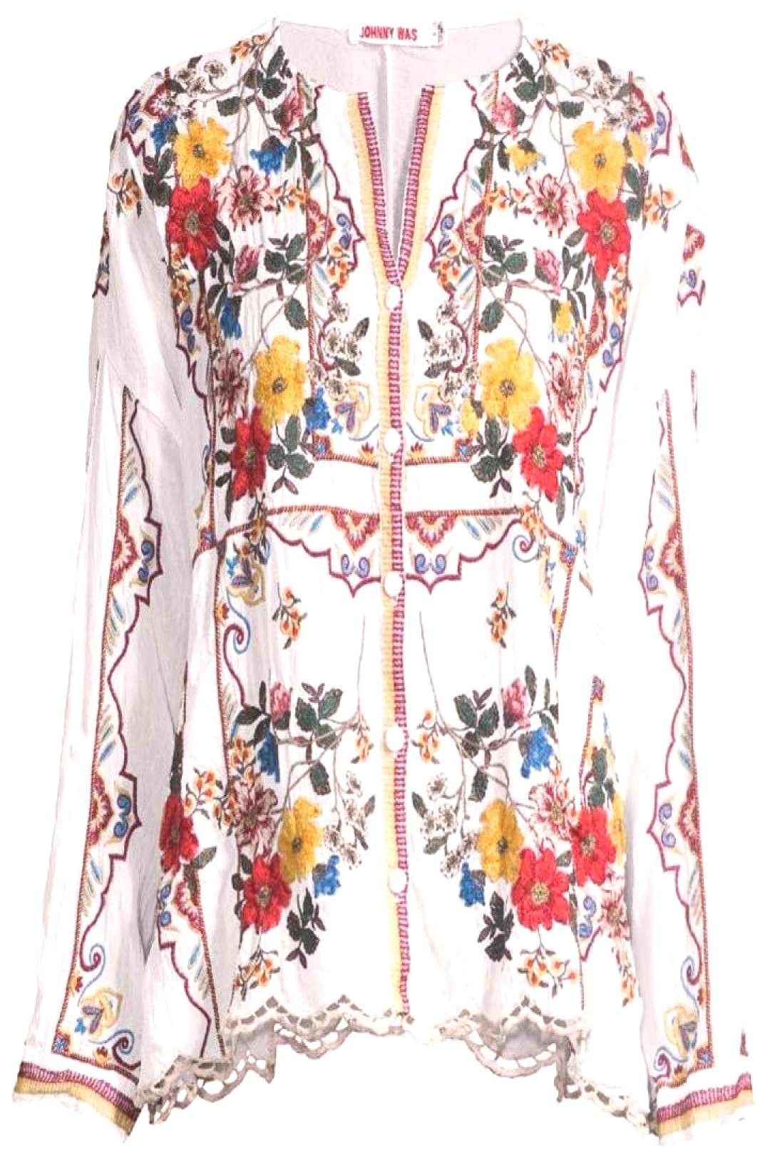 Johnny Was Cabo Embroidered Blouse ,