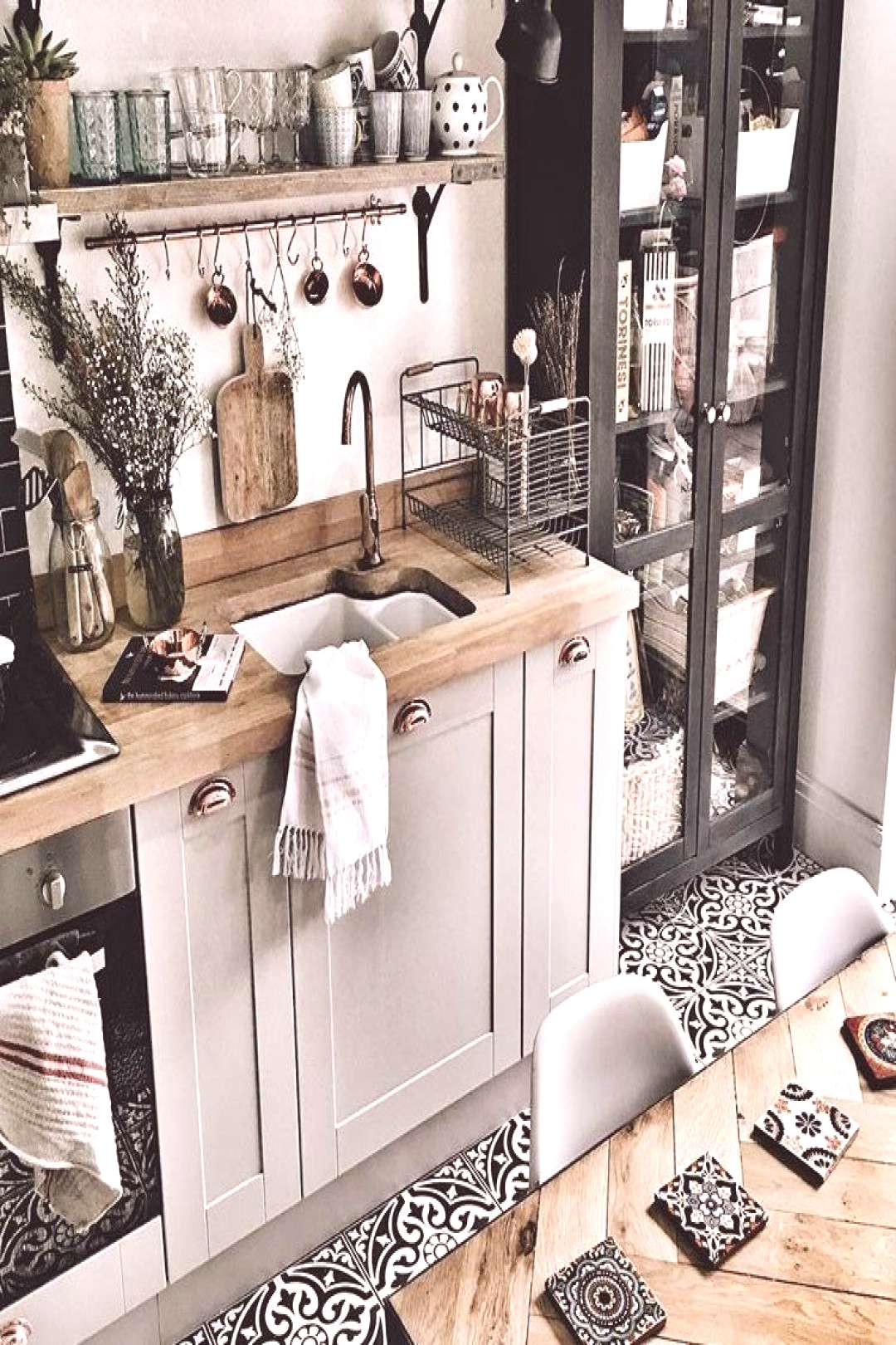 Kitchen Ideas   Vintage floor tiles, wooden counter top with grey cabinets#cabinets
