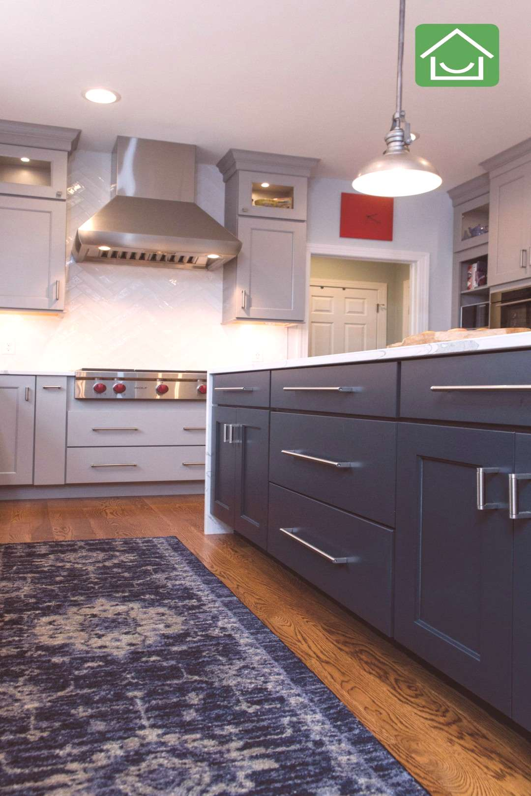 Navy Kitchen Island with Grey Cabinets#cabinets