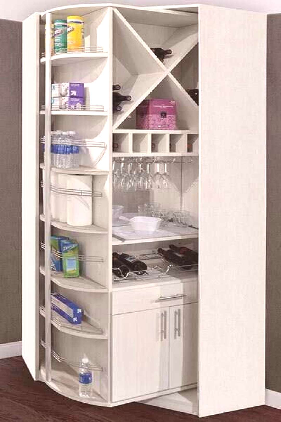 Rotating Butler Pantry Cabinets with Wine Storage Racks#butler