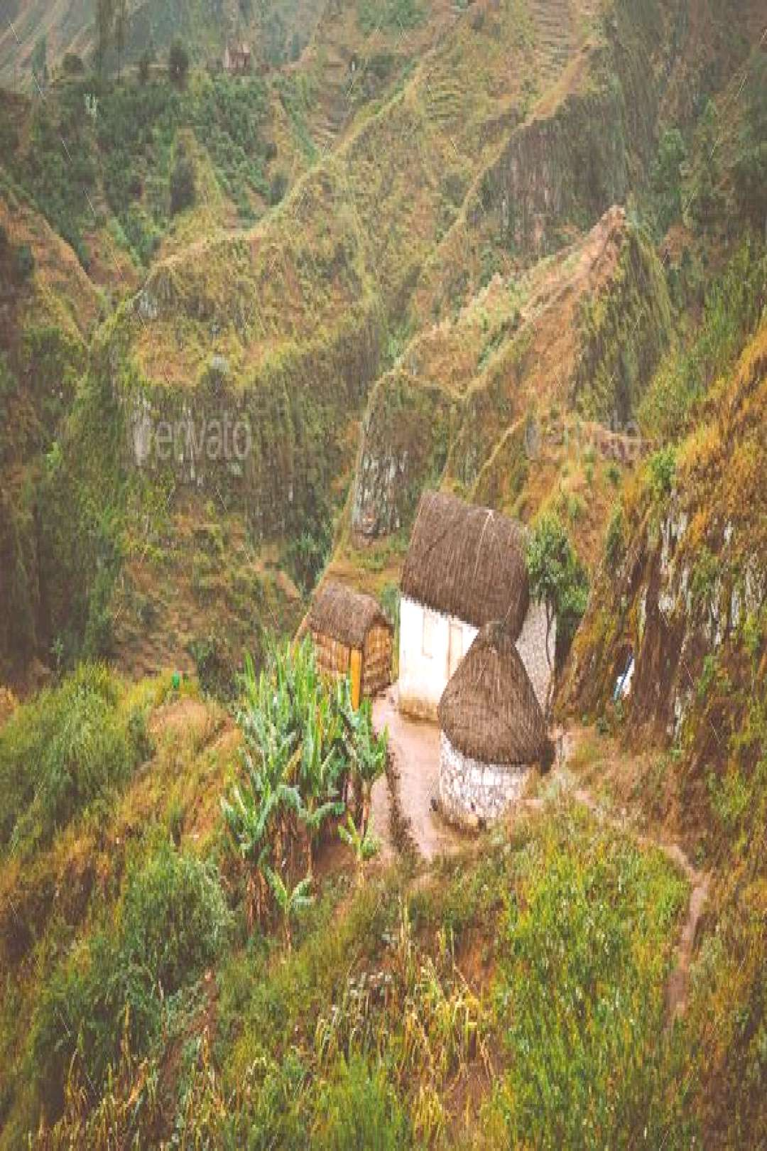 Santo Antao Cape Cabo Verde. Local houses on mountain top on hiking trail in Ribeira de Janela by S