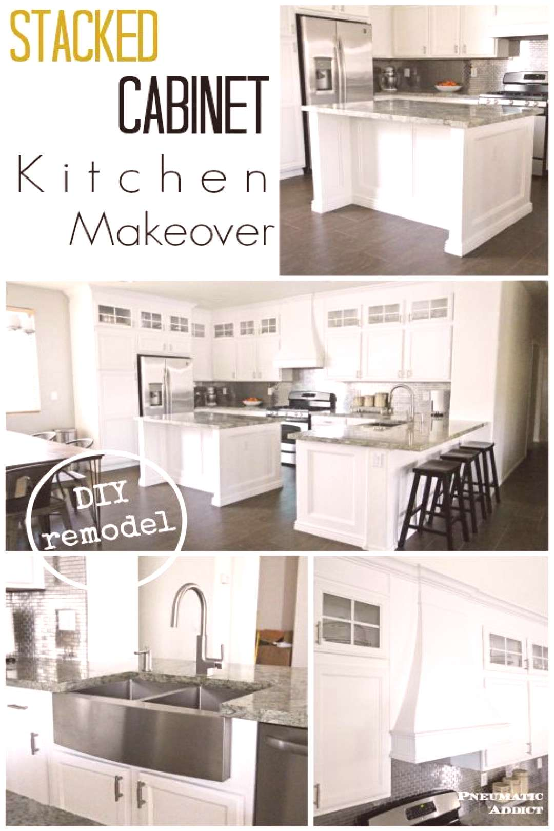 Stacked Cabinet Kitchen Makeover This amazing was done by one woman! I love the stacked and the sta