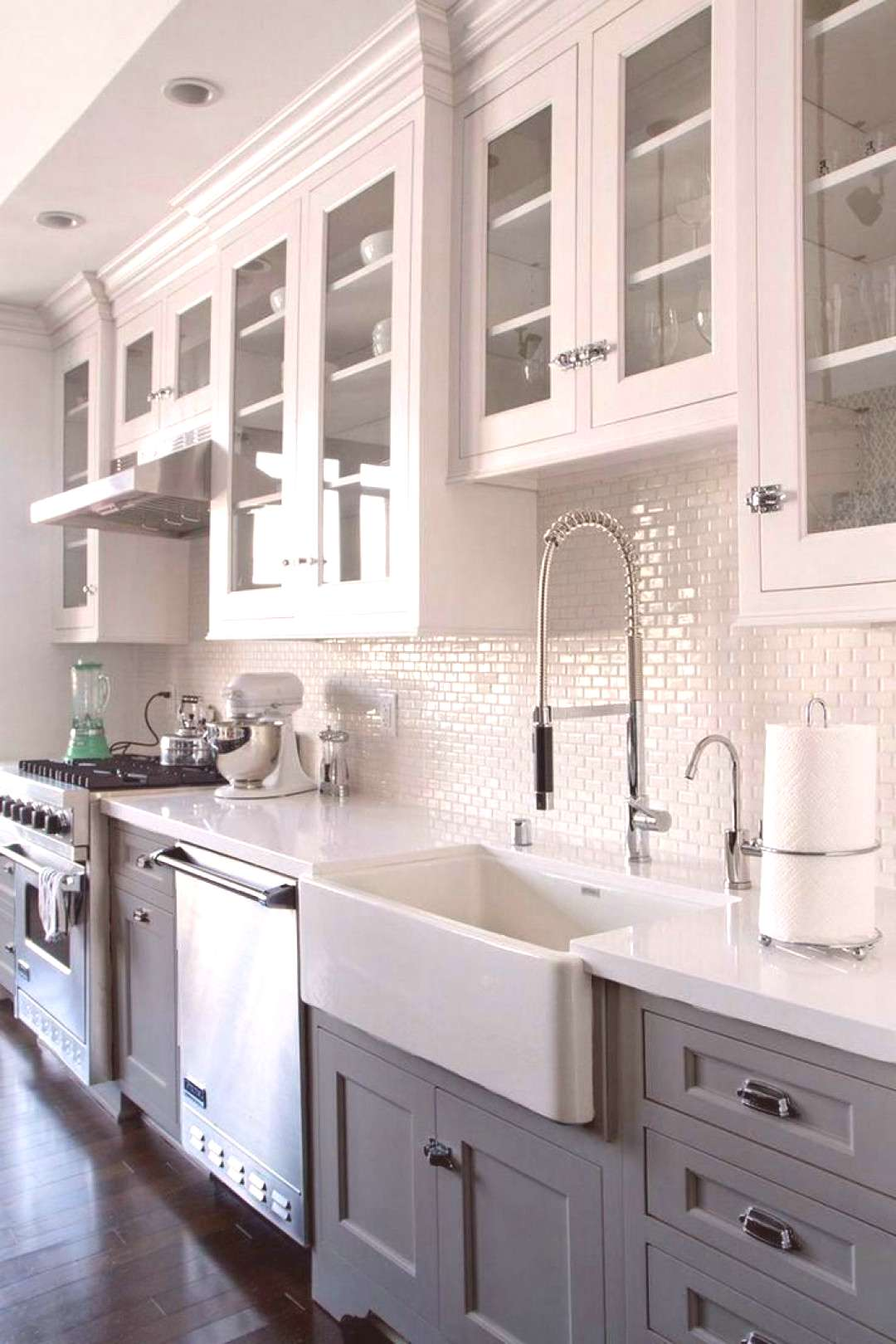 The 20 most popular color ideas for kitchen cabinets (trends for 2019) ...#bluegrey