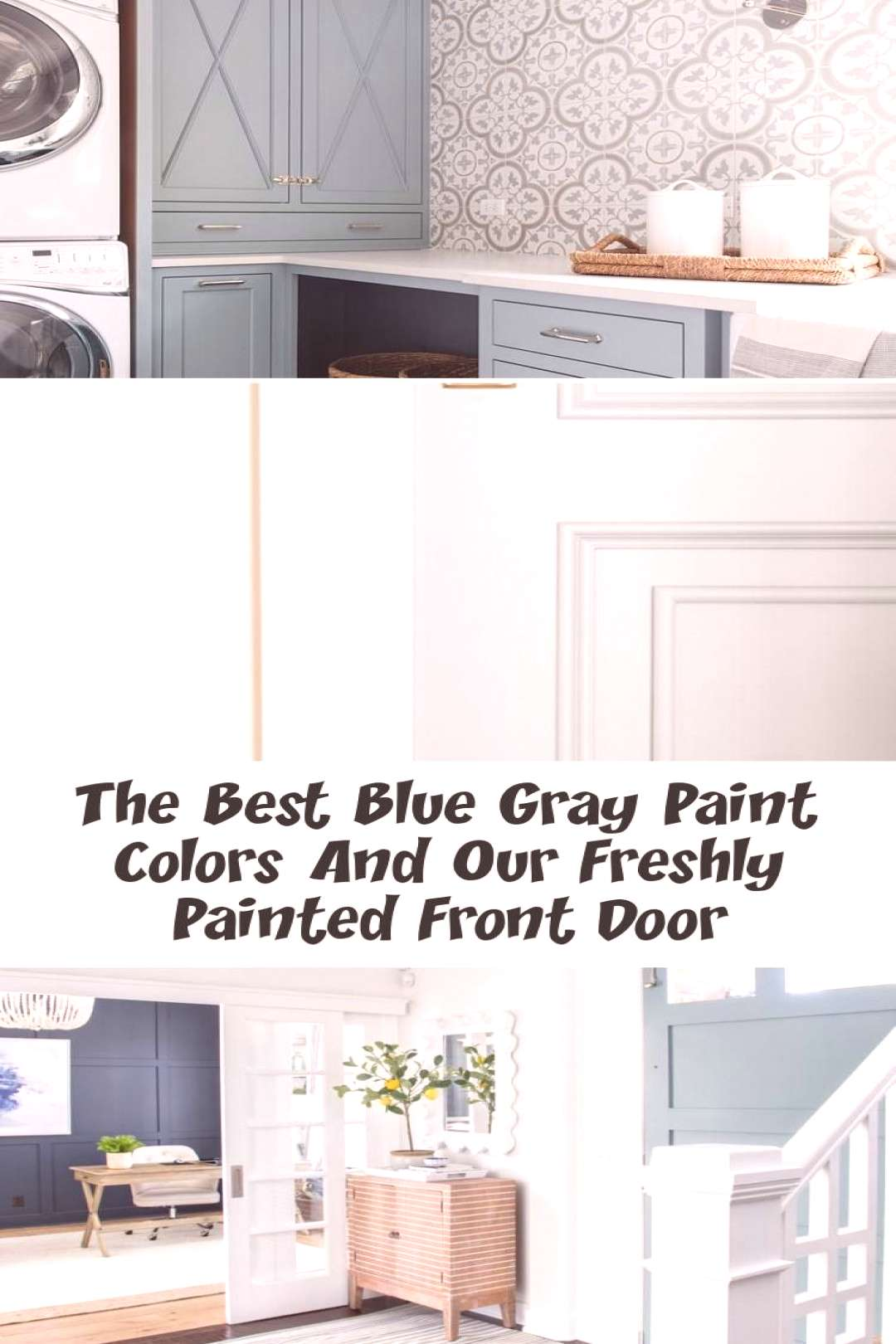 These Benjamin Moore Cloudy Sky laundry room cabinets are the perfect example of... These Benjamin