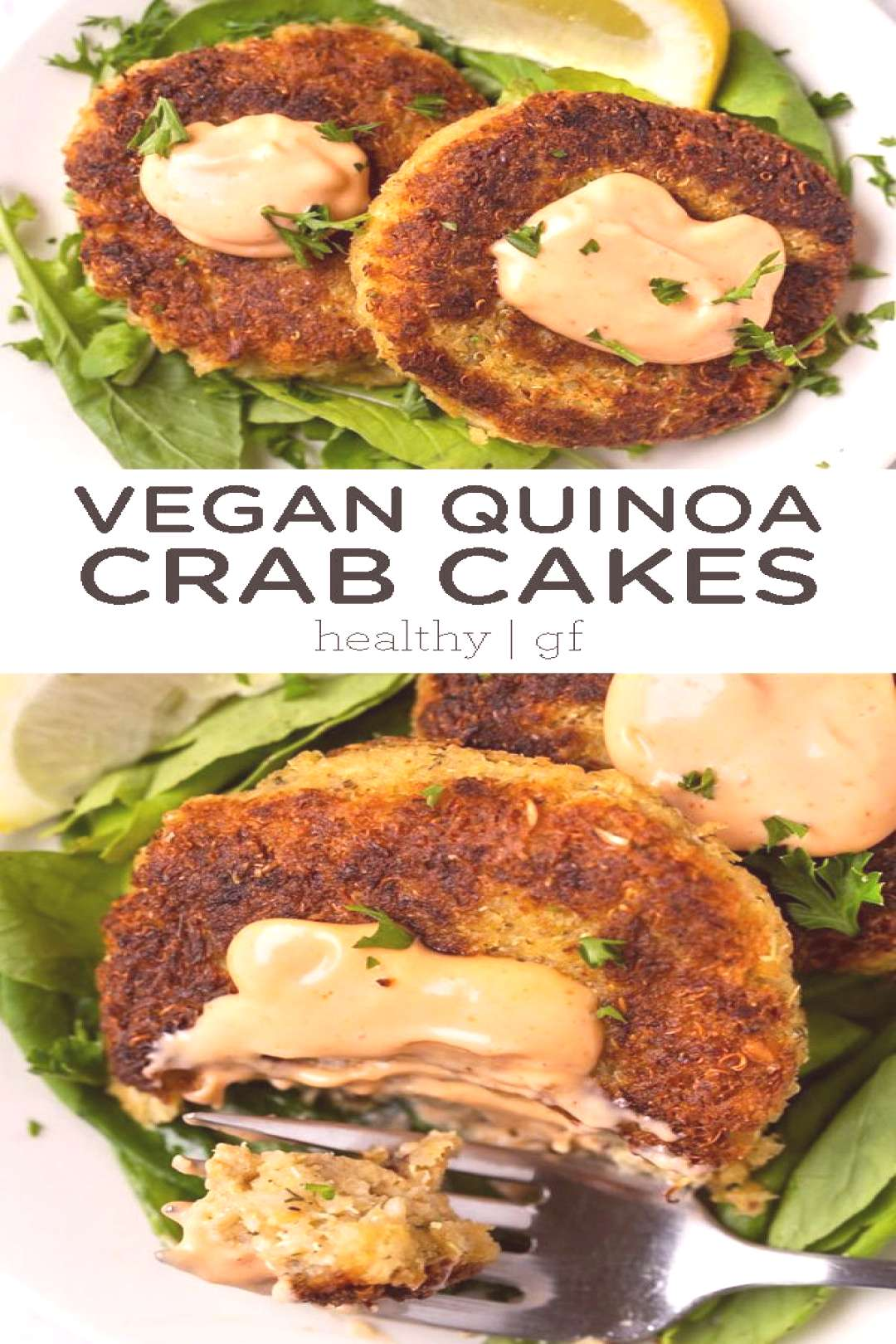 These quinoa crab cakes might look traditional, but are actually 100% vegan! Mad... - These quinoa