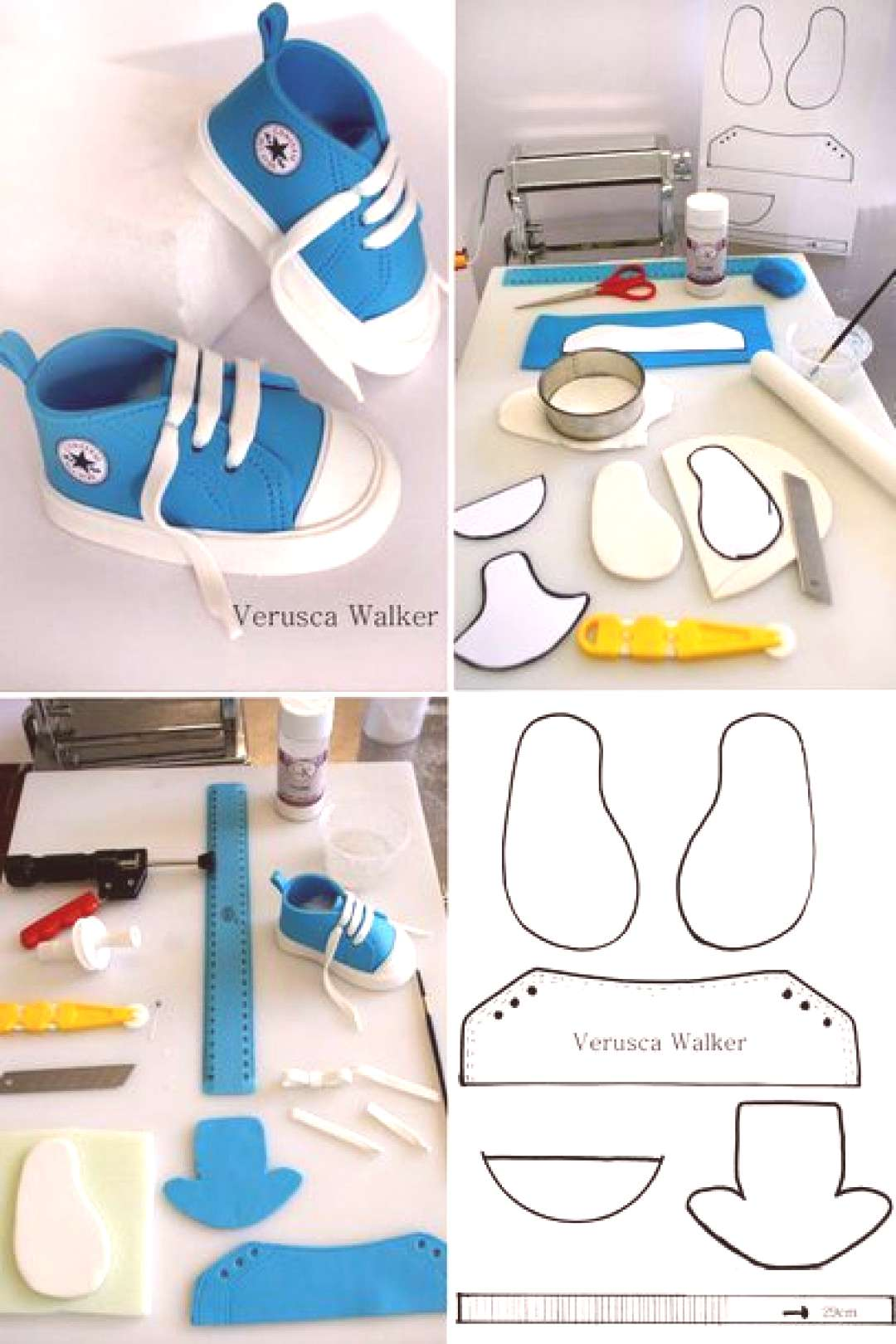 Tutorial Little all star shoes template - by Verusca Walker @ - cake decorating website