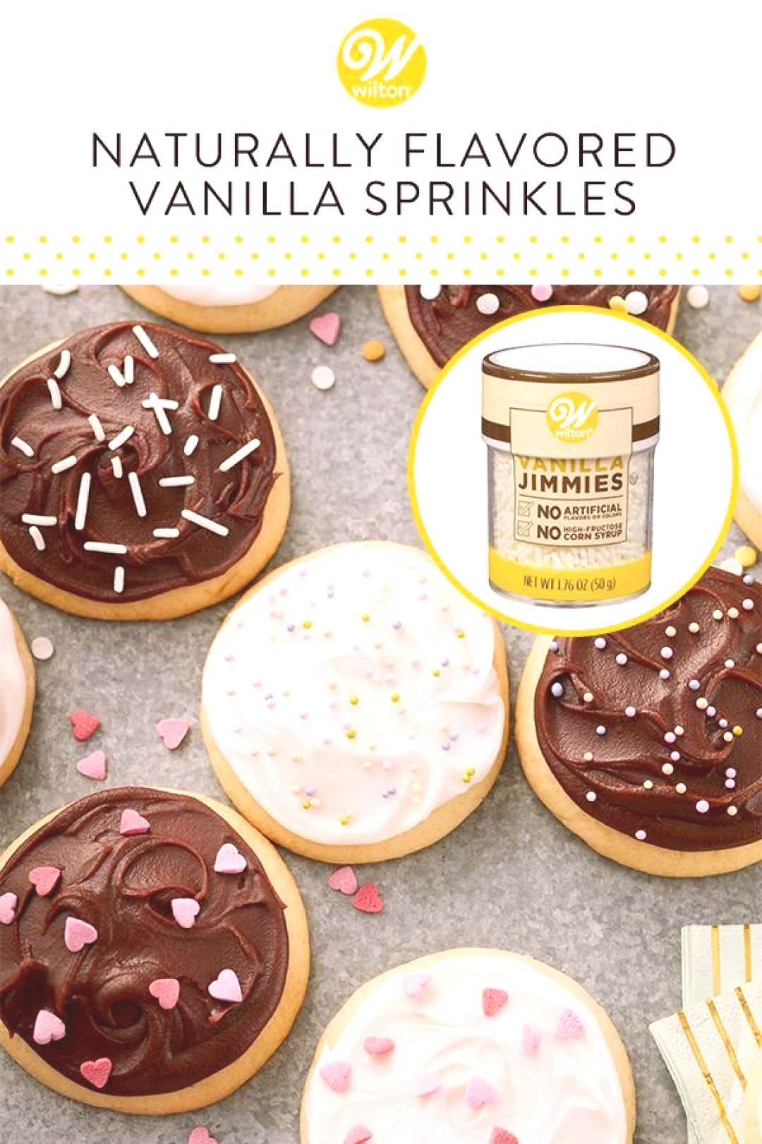 When you want to top your treats with pretty edible vanilla jimmies that have no artificial colors,